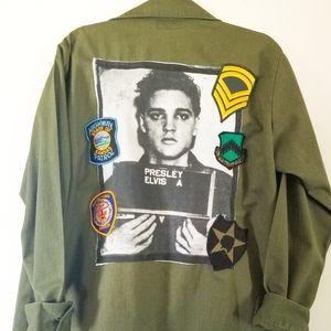 OOAK Upcycled Elvis Presley Vintage Military Shirt